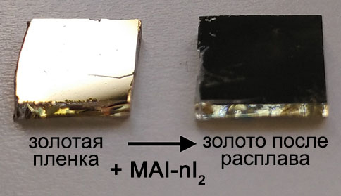 Light-induced reactivity of gold and hybrid perovskite as a new possible degradation mechanism in perovskite solar cells